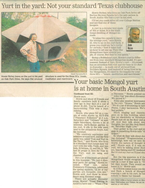 John Kelso's article on the Yurt